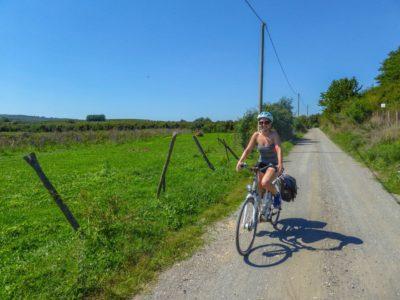 Cyclist on Via Francigena