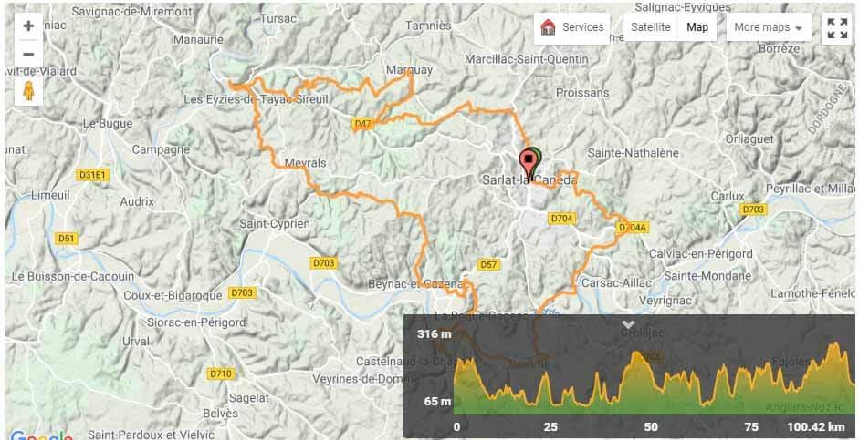 Dordogne Route Map