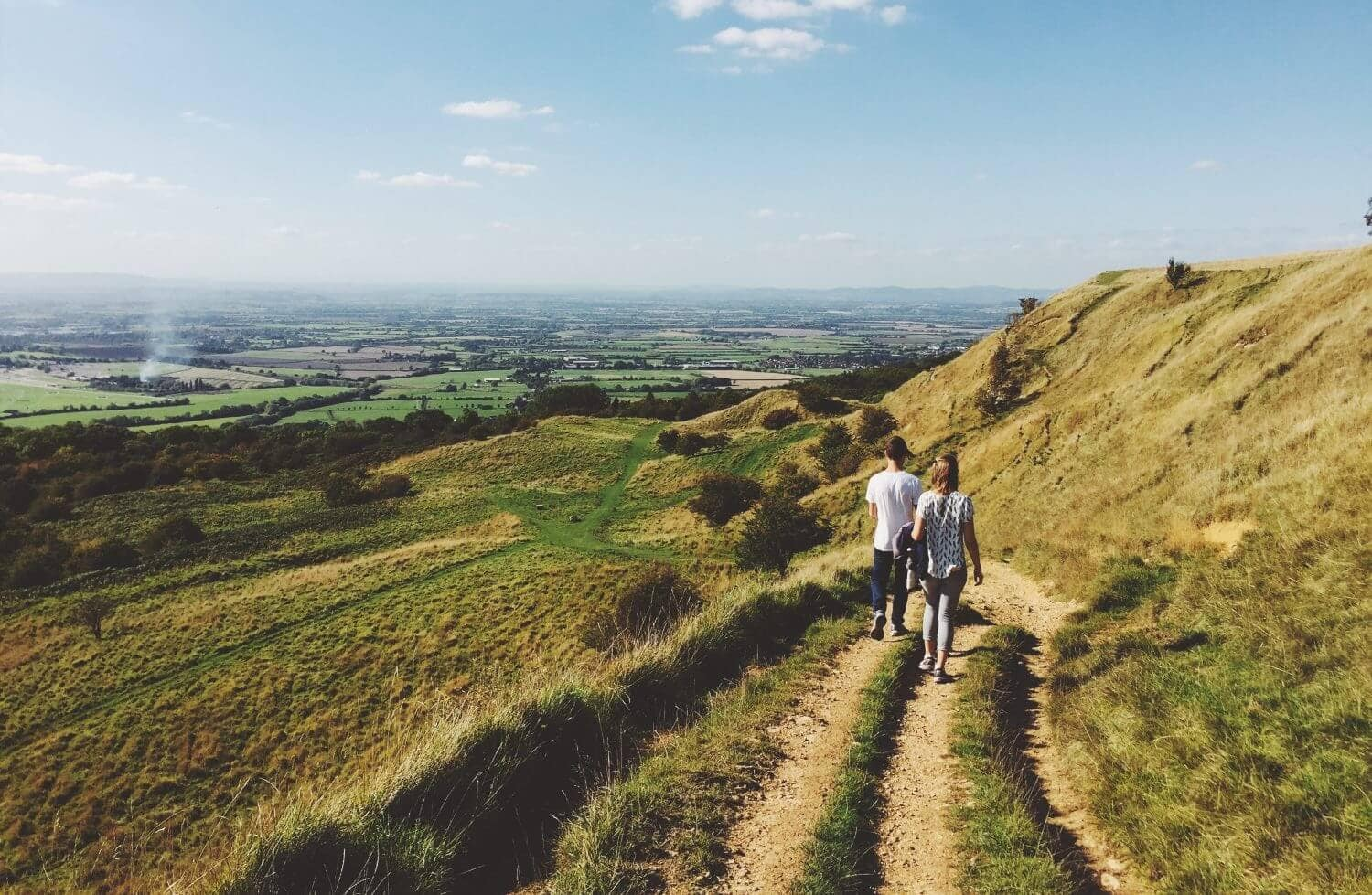 Couple hiking in Cotswold